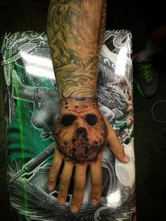Jason horror mask tattoo by joshua stallworth tattoos out of las vegas, nv