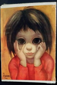 "1963 Walter (Margaret) Keane Print BIG EYES Card ""The Little Thinker"" blank"