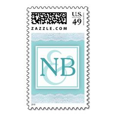 Mint green monogram postage stamps