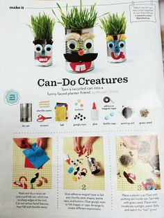 DIY Tin can creature planters. Great idea for kids to make as gifts for family, teachers, coaches...
