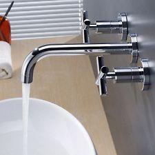 Polished Chrome Wall Mount Bathroom Basin Sink Faucet Double Handles