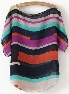Multicolor Short Sleeve Striped Chiffon Blouse - abaday.com