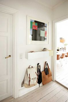 Here are amazing multi-purpose entryway storage hacks, solutions, and ideas that will keep your home's first and last impression on-point. Tag: small entryway ideas narrow hallways, small entryway ideas apartment, small entryway ideas in living room. Narrow Entryway, Entryway Storage, Entryway Ideas, Narrow Hallways, Narrow Bench, Hallway Ideas, Storage Hooks, Entryway Decor, Entryway Hooks