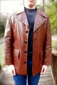 WISE GUY Pimpin 70s Terra Cotta Brown Mens Leather By JackpotJen Coats