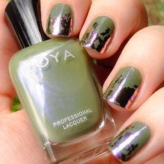 This one is really fun. :) Zoya Gemma with purpley Ocean Mist foil on the tips. #zoya #nailfoil #nailsofinstagram #nailstagram #instagood #mani #manicure #notd #nailfoils #shiny #gemma