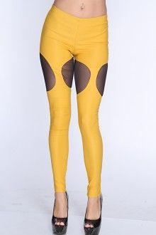 Mustard Mesh Cutouts High Waist Leggings