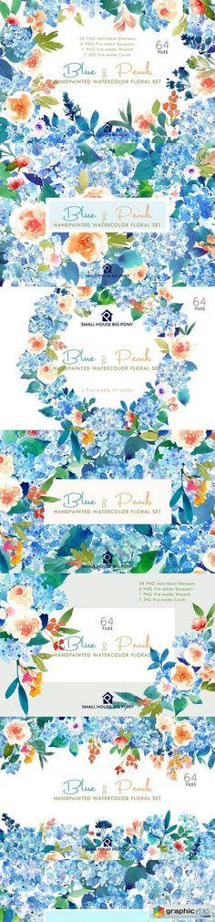 Blue & Peach- Watercolor Floral Set  stock images