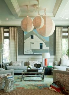"""The Living Room"" from the Holiday House Hamptons by Thom Felicia with the Munich table lamp by Broad Beach."