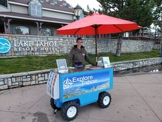 This motorized cart has been custom built with lockable cabinet, counter top, umbrella stands and power inverter to run a TV or laptop remotely. Are you looking for a custom trade show, sales or food service cart? Give us a call. Lake Tahoe Resorts, Electric Utility, Umbrella Stands, Food Service, Counter Top, Workplace, Pugs, Pallet, Palette