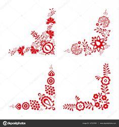 Sada čtyř tradiční lidové ozdoby, lidová dekorativní vzor — Stocková ilustrace Machine Embroidery Designs, Embroidery Patterns, Hungarian Embroidery, Geometric Art, How To Make Beads, Diy Painting, Textile Art, Cross Stitch Embroidery, Flower Designs