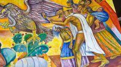 Imágenes de los dos murales de Raúl Anguiano en el Tecnológico de Monterrey de la ciudad de México.