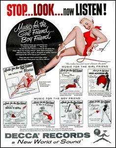 Stop...Look...now Listen! Music for the Girlfriend or The Boyfriend, Vintage Decca Records Ad