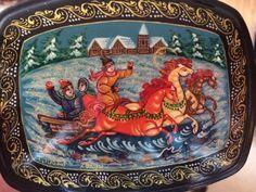 Palekh  jewelry box traditional Russian art made by Viktoriyasshop