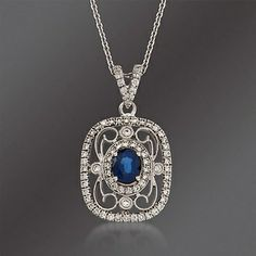 Simon G. .60 Carat Fancy Sapphire and .39 ct. t.w. Diamond Pendant Necklace in 18kt White Gold. 17