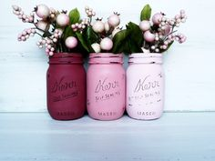 Valentine's Day Painted and Distressed Mason Jars  by BeachBlues