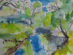 Along the river - watercolour by Nadia Baumgart