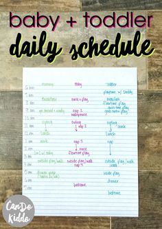 Stay at Home / Work at Home mom's baby and toddler schedule for 2 under 2. www.CanDoKiddo.com