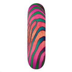 Pink Zebra Skateboard Deck