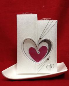 Hochzeitskerze mit 2 Herzen mit Perlmutt Effekt