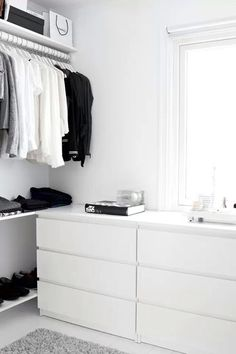 A well-organized closet, white, but I'd definitely want more color than that