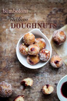 bomboloni: italian cherry doughnuts (I think I'll try raspberry instead of cherry)