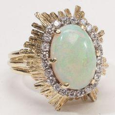 Vintage Estate Diamond Opal 18k Gold Flower Cocktail Ring