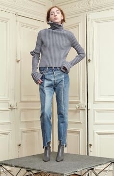 VETEMENTS, FRAYED HEM JEANS, REWORKED DENIM, VETEMENTS JEANS, SOCK BOOTS, AW14 LOOKBOOK, LUXURY FASHION