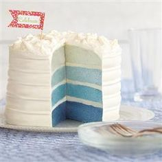 Blue Ombre Cake  Also saw the strawberry brownie cake and this as ideas for gender reveal parties (if you like that sort of thing)