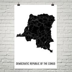 Congo Wall Map Print - Modern Map Art