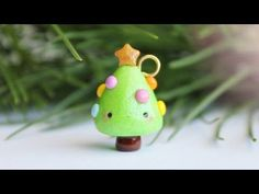 Kawaii Christmas Tree polymer clay charm tutorial