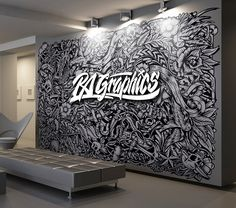 My dream office wall! Murals Street Art, Mural Art, Wall Murals, Office Mural, Office Walls, Graphic Design Workspace, Tattoo Studio Interior, Office Wall Graphics, Wall Drawing