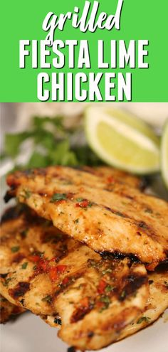 Lime Chicken is tender and juicy with perfect Tex-Mex flair. This marinated grilled chicken recipe is bursting with flavor!Fiesta Lime Chicken is tender and juicy with perfect Tex-Mex flair. This marinated grilled chicken recipe is bursting with flavor! Fiesta Lime Chicken, Lime Chicken Recipes, Chicken Marinade Recipes, Chicken Marinades, Grilling Recipes, Cooking Recipes, Lime Chicken Tacos, Vegetarian Grilling, Healthy Grilling