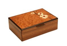 Mike Fisher - Heartwood Creations - Moon Flowers Jewelry Box Shown here is Heartwood Creations Moon Flowers Jewelry Box. The body of this Jewelry Box are crafted from a single piece of Sapele wood whi