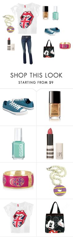 """""""Kayla's Outfit Day 1"""" by cao-clothes ❤ liked on Polyvore featuring Converse, Chanel, Essie, Alexander McQueen, H&M, Loungefly and True Religion"""