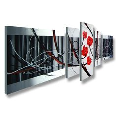 Awesome abstract but feminine art piece.Artist: UnknownTitle: Abstract439Product type: Hand painted gallery wrapped canvas art set