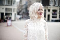 Lace dress and red lipstick, Yara Michels