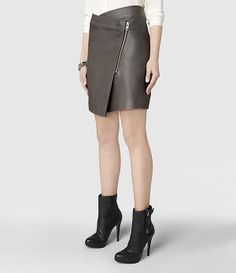 Womens Zip Ruther Leather Skirt (Anthracite) | ALLSAINTS.com