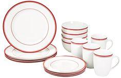 AmazonBasics 16-Piece Cafe Stripe Din…
