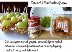 I found this Quick & EZ Recipe for grape snacks @ http://fantasticfamilyfavorites.blogspot.ca/search/label/Appetizer . You might want to check out some of her other recipes. Enjoy !  :)