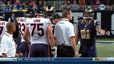 St. Louis Rams defensive end Chris Long runs onto the field from the sideline to stop brother and Chicago Bears offensive guard Kyle Long from getting in a fight on a crazy penalty-filled play.