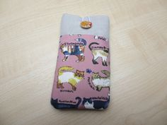 Cute cats iPod sleeve, iPhone 5 cover,Fabric phone case,iPhone 5s cover,cell phone pouch, Nokia pouch,cell phone cover, cat lover phone case by UniquecasesUK on Etsy