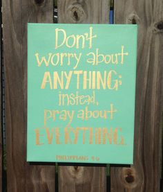 "Bible Verse Canvas Art - Hand Lettered - Mint and Gold - ""Don't worry about…"