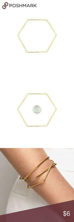 "*SALE* Bracelet Hexagon Gold Modern chic!! Single gold tone metal bracelet with geometric minimalist design. Hexagon shape. Inside diameter approx 2.5"". 2mm thick, rounded. Weight approx 8 grams. Listing is for one bracelet. Also available as set of 3 shape bracelets as shown on model – see my listings. Gorgeous!  HOST PICK Best in Boutiques Jan 3 2018 Candymuse Jewelry Bracelets"