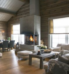 Hytte Gray Interior, Interior Design, Rustic Lake Houses, Cottage Interiors, Wooden Cabins, Log Homes, Living Spaces, Sweet Home, House Ideas