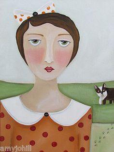 The Dog Walk. Original folk art painting by Amy Jo Hill.