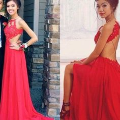 2017 custom made red chiffon prom dress,lace evening dress,sexy backless party gown, high quality - Thumbnail 5