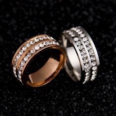 Para mujer para hombre de moda filas dobles rhinestones anillo de boda joyería de acero titanium
