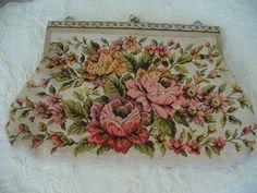 Vintage Rose Tapestry Handbag