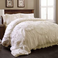 Serena Comforter White Set Queen - Lush Decor from heavily brushed poly the ruching creates a textured base which is so soft yet creates a perfect backdrop for the hand crafted and engineered floral details. Even the Pillow shams hav Bedroom Decor, Comforter Sets, Chic Furniture, Lush Decor, Shabby Chic Bedrooms, White Bedspreads, Luxury Bedding, Chic Home Decor, Home Decor
