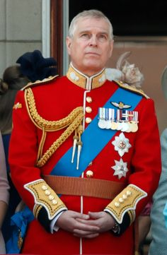 Prince Andrew, Duke of York stands on the balcony of Buckingham Palace during Trooping The Color 2018 in London, England.
